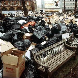 1979 Labour under Callaghan Uncollected Rubbish Piles Up