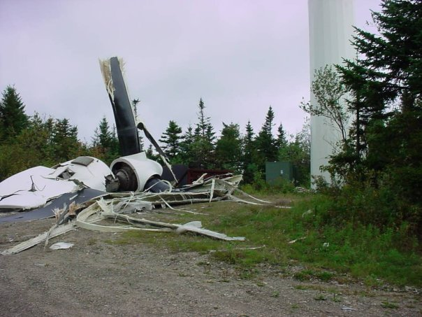 Another wind turbine destroyed by the wind it is supposed to harvest.