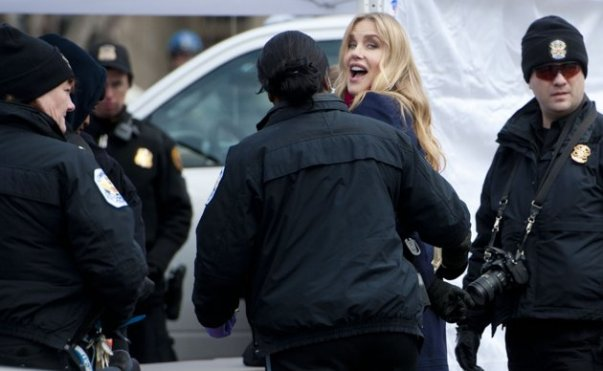 Champagne environmentalist Daryl Hannah is arrested at the Keystone XL pipeline protest.