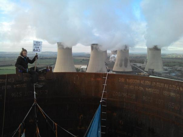 Green protestors from the group No Dash For Gas closed the West Burton power station for 8 days in November 2012.