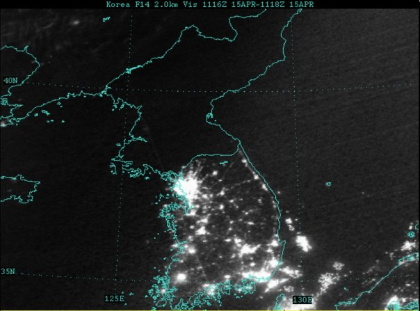 Every hour of every night is Earth Hour in North Korea where a subsidized economy run on the lines of the Green Dream fails to deliver enough wealth to keep the lights on at night.