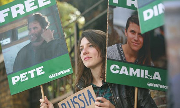 Greenpeace protestor outside the Russian Embassy in London. Then Green equivalent of the 19th Century British Army's Forlone Hope.