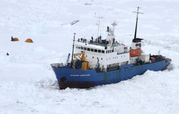 "The MV Akademik Shokalskiy trapped in Antrarctic Sea ice, the ""passengers"" are actually warming alarmist scientists."
