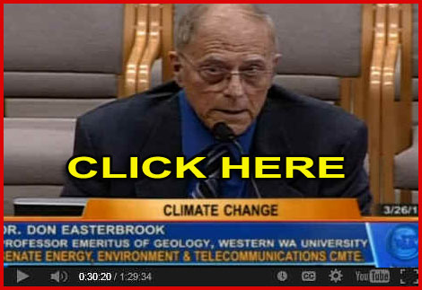 "Dr Don Easterbrook - ""One thing many people don't realize is that CO2 by itself is incapable of causing significant climate change. Carbon dioxide in the atmosphere is 39/1,000ths of one percent. It's nothing. Ninety-five percent of the greenhouse effect is water vapor, and water vapor is not changing."